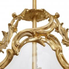 Large glass and gilt bronze hanging hall lantern - 1577247