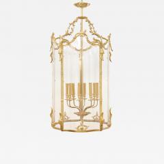 Large glass and gilt bronze hanging hall lantern - 1579243