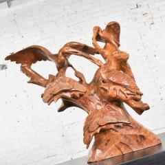 Large hand carved teak asian sculpture of a trio of cranes on a ginkgo tree - 1639653