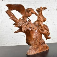 Large hand carved teak asian sculpture of a trio of cranes on a ginkgo tree - 1639701