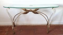 Large organic glass brass lucite Mid Century Modern console table Spain 1970s - 1202727