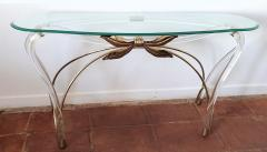 Large organic glass brass lucite Mid Century Modern console table Spain 1970s - 1202729