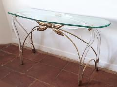 Large organic glass brass lucite Mid Century Modern console table Spain 1970s - 1202730