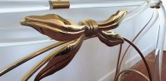 Large organic glass brass lucite Mid Century Modern console table Spain 1970s - 1202733