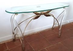 Large organic glass brass lucite Mid Century Modern console table Spain 1970s - 1202736