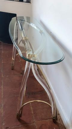Large organic glass brass lucite Mid Century Modern console table Spain 1970s - 1202737