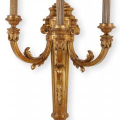 Large pair of Louis XVI style three branch ormolu wall lights - 1577235