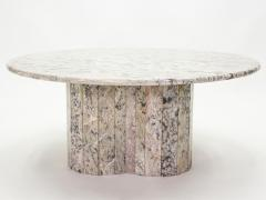 Large round coffee table made with white sicilian marble 1970s - 1837048