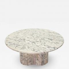 Large round coffee table made with white sicilian marble 1970s - 1839455