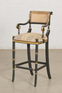 Las Palmas Collection Giltwood Ebonized Caned Barstool Mansfield - 2142184