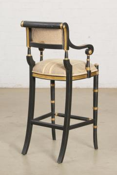 Las Palmas Collection Giltwood Ebonized Caned Barstool Mansfield - 2142185