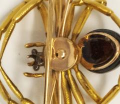 Late 1800s French 18kt Gold Diamond Ruby Spider Brooch - 875538