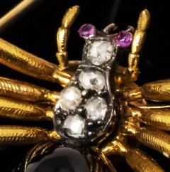 Late 1800s French 18kt Gold Diamond Ruby Spider Brooch - 875540