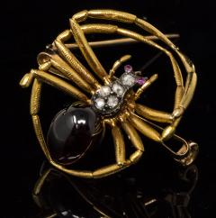 Late 1800s French 18kt Gold Diamond Ruby Spider Brooch - 875542