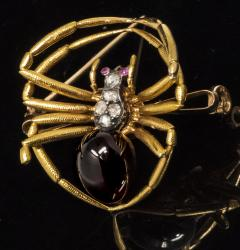 Late 1800s French 18kt Gold Diamond Ruby Spider Brooch - 875543