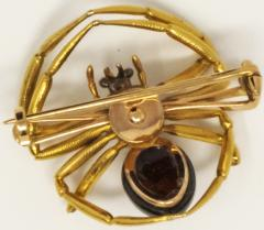 Late 1800s French 18kt Gold Diamond Ruby Spider Brooch - 875546