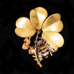 Late 1800s French Art Nouveau Bumble Bee 4 Leaf Clover 18k Gold Diamond Brooch - 875259