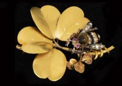 Late 1800s French Art Nouveau Bumble Bee 4 Leaf Clover 18k Gold Diamond Brooch - 875262