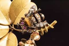 Late 1800s French Art Nouveau Bumble Bee 4 Leaf Clover 18k Gold Diamond Brooch - 875266