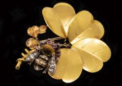 Late 1800s French Art Nouveau Bumble Bee 4 Leaf Clover 18k Gold Diamond Brooch - 875267