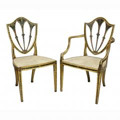 Late 18th C Twelve George III Painted Shield Back Dining Chairs Set of 12 - 1521655