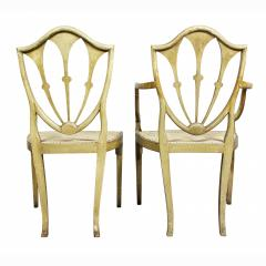Late 18th C Twelve George III Painted Shield Back Dining Chairs Set of 12 - 1521682