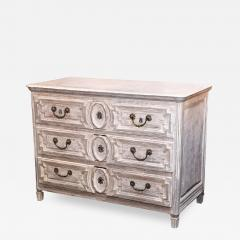 Late 18th Century Louis XVI Grey Finish Three Drawer Commode with Raised Panels - 416683