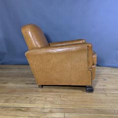 Late 1930s Cognac Leather Club Chair Continental - 1524922