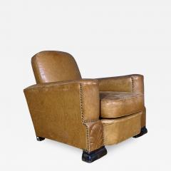 Late 1930s Cognac Leather Club Chair Continental - 1526955