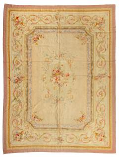 Late 19th Century Antique Ivory and Beige Floral French Aubusson Tapestry Rug - 1943718