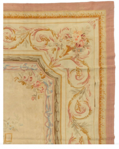 Late 19th Century Antique Ivory and Beige Floral French Aubusson Tapestry Rug - 1943724