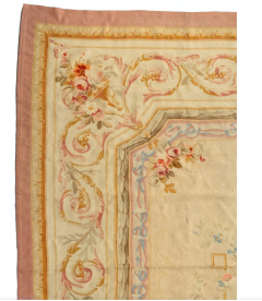 Late 19th Century Antique Ivory and Beige Floral French Aubusson Tapestry Rug - 1943728