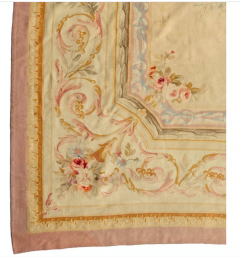 Late 19th Century Antique Ivory and Beige Floral French Aubusson Tapestry Rug - 1943729