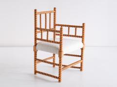 Late 19th Century Bobbin Chair in Beech and Ivory Dedar Boucl Fabric - 2047040