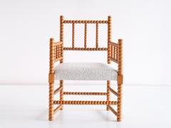 Late 19th Century Bobbin Chair in Beech and Ivory Dedar Boucl Fabric - 2047041