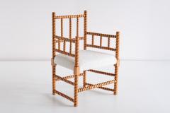 Late 19th Century Bobbin Chair in Beech and Ivory Dedar Boucl Fabric - 2047042