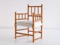 Late 19th Century Bobbin Chair in Beech and Ivory Dedar Boucl Fabric - 2047043