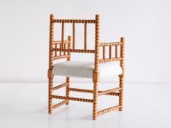 Late 19th Century Bobbin Chair in Beech and Ivory Dedar Boucl Fabric - 2047044