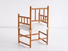 Late 19th Century Bobbin Chair in Beech and Ivory Dedar Boucl Fabric - 2047045