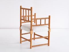 Late 19th Century Bobbin Chair in Beech and Ivory Dedar Boucl Fabric - 2047046