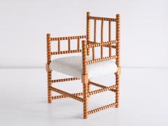 Late 19th Century Bobbin Chair in Beech and Ivory Dedar Boucl Fabric - 2047047