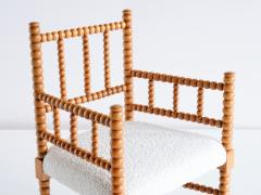 Late 19th Century Bobbin Chair in Beech and Ivory Dedar Boucl Fabric - 2047048