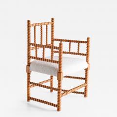 Late 19th Century Bobbin Chair in Beech and Ivory Dedar Boucl Fabric - 2049370