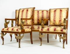 Late 19th Century Empire Style Three Gilt Bronze Mounted Salon Suite - 1170092