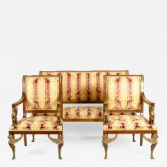 Late 19th Century Empire Style Three Gilt Bronze Mounted Salon Suite - 1171240
