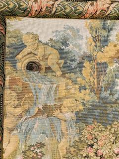Late 19th Century French Handwoven Tapestry of Garden with Three Putti - 1725933