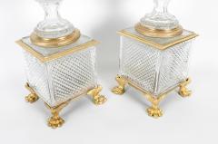 Late 19th Century Gilt Bronze Cut Glass Vases Centerpieces - 1170418