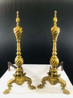 Late 19th Century Large Georgian English Brass Andirons a Pair - 1729745