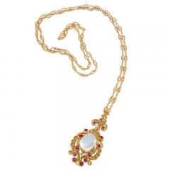 Late 19th Century Moonstone Ruby and Gold Pendant - 731973