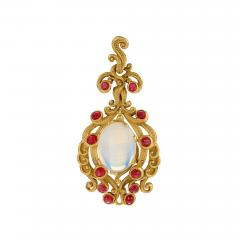 Late 19th Century Moonstone Ruby and Gold Pendant - 732107